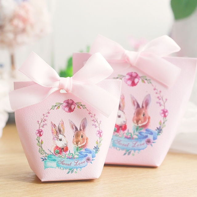 20pcs Bunny Cartoon Candy Boxes Wedding Favors Portable Gift Box