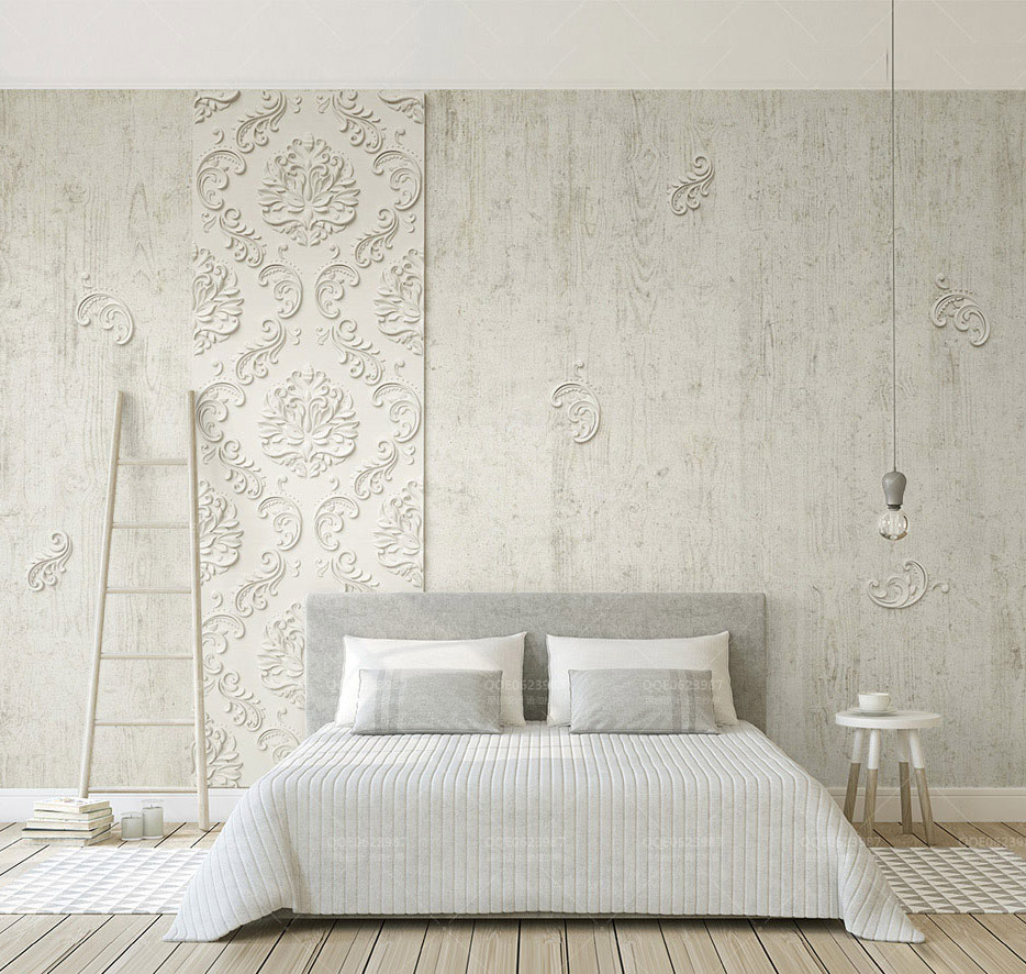 Bacaz 木の質感エンボス加工 Parget ダマスク花 3d 壁紙壁画寝室用写真