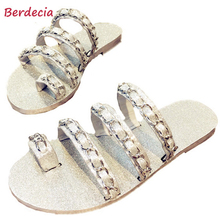 Berdecia Ladies's Flats Slippers Summer season Bling Bling Chain Flip Flops New Mannequin Exterior Informal Leather-based Pantufa Free Transport