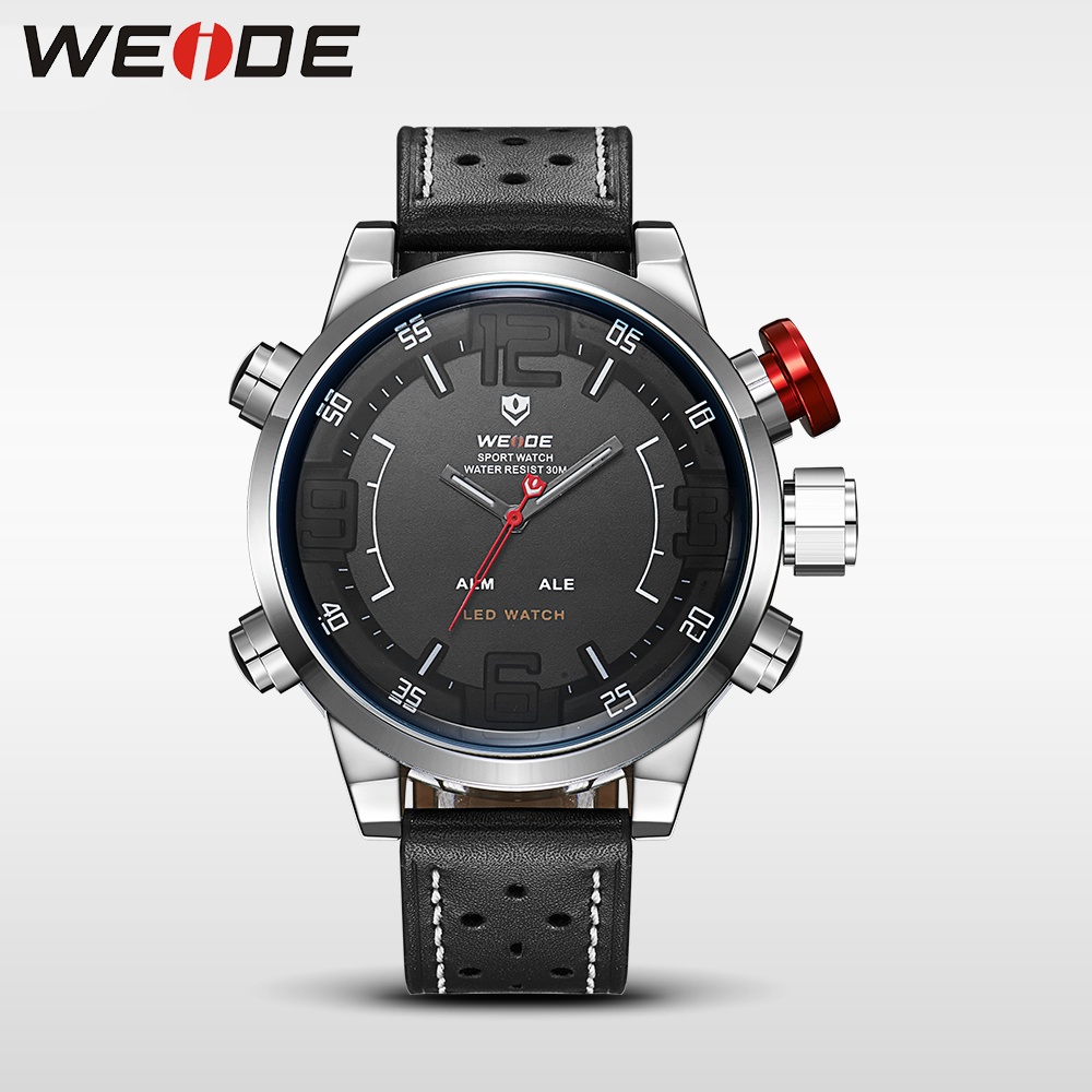 лучшая цена WEIDE Watch Men Sport Water Resist Black Leather Strap Over size LED Display Auto Date Quartz Wristwatches relogio digital 5210