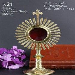 Caixa de suprimentos relicário de jesus igreja Católica santo ostensório requintado belo presente lembranças Ostensorium Cristianismo cruz
