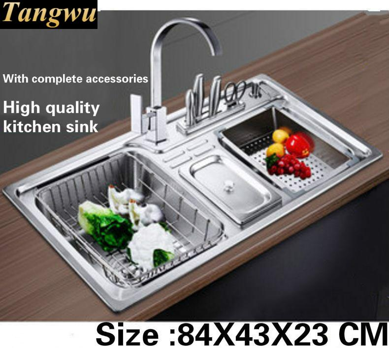 Tangwu The kitchen big sink Food-grade 304 stainless steel with thick double groove With complete accessories 84x43x23 cm free shipping food grade 304 stainless steel hot sell kitchen sink double trough 0 8 mm thick ordinary 78x43 cm