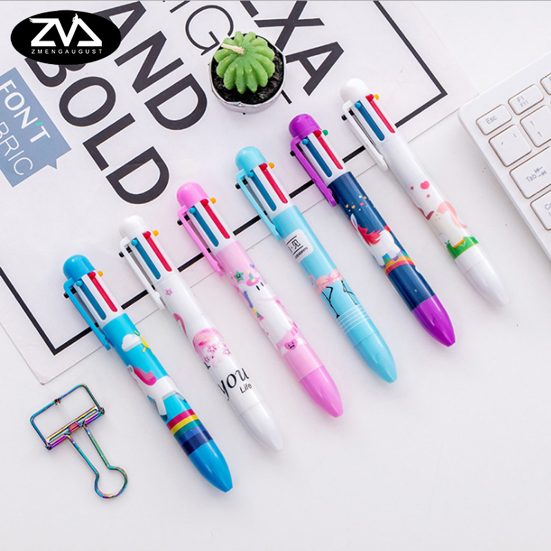 1X  Creative Cartoon Unicorn Flamingo 6 Color Ballpoint Pen childrens gift kawaii School stationery supplies Writing pen