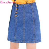 BeauSecret 2017 summer new denim skirt women Single breasted short denim skirts