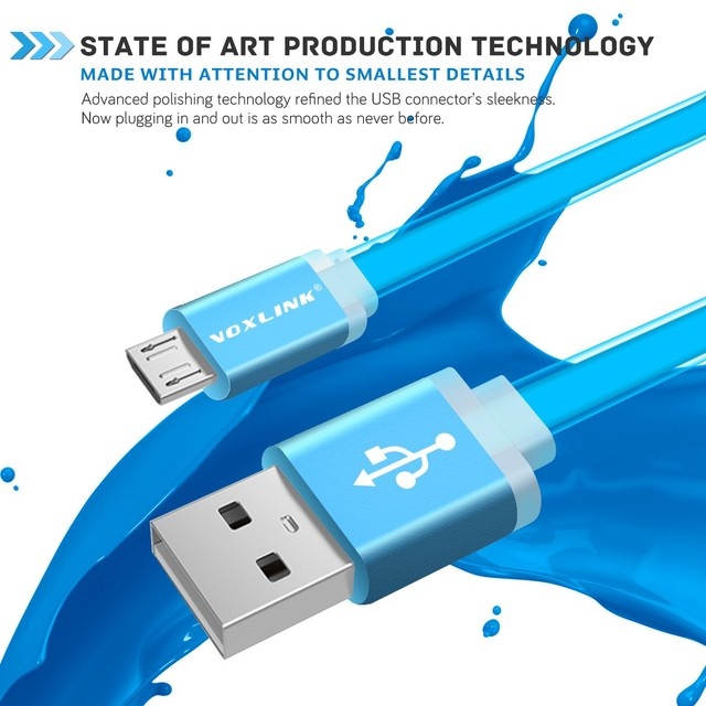 Universal Flat Noodle Micro USB Charger Sync Data Cable for Android Phones