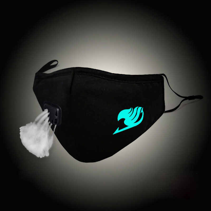 Luminous Mouth Mask Fairy Tail Guild Xiling Empire Cosplay Face Mask Anti PM2.5 Dust Filter Winter Muffle Valved Respirator HXF