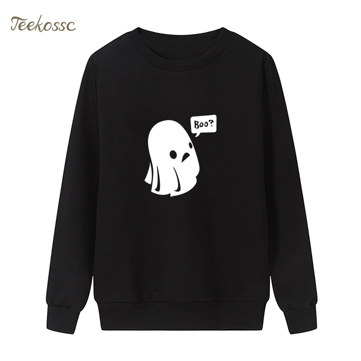 Cute Ghost Boo Halloween Sweatshirt Harajuku Hipster Hoodie 2018 Winter Autumn Women Lasdies Pullover Fleece Funny Streetwear