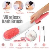 Waterproof USB Electric Long Handle Shower Bath Cleaning Brush Spa Skin Massage Body Wash Health Care Handle Scrub Spin USB