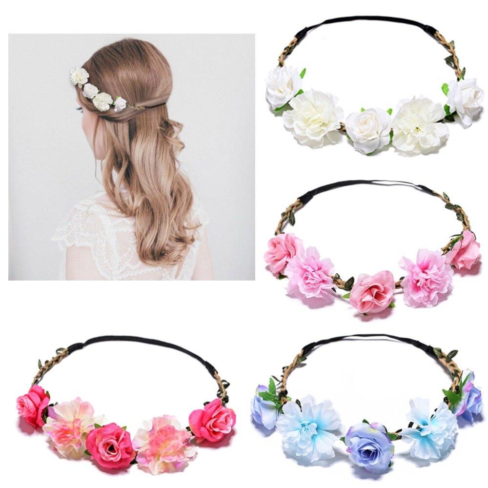 2019 Baby Girl Boy Rose Flower Wreath Crown Headband Floral Garlands Hair band