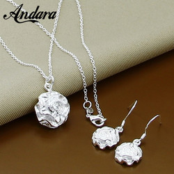 Jewelry Set Delicate 925 Sterling Silver Plant Flower Earring Necklace Set for Women Girl Valentine's Day Gift