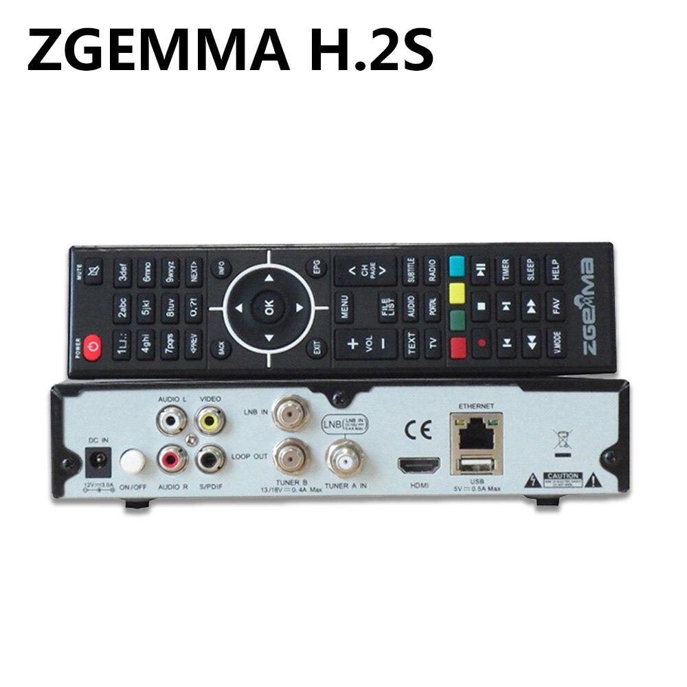 Original ZGEMMA H.2S Twin Tuner DVB-S2 + DVB-S2 Dual Core Satellite Receiver Enigma 2 linux OS 2000DMIPS CPU BCM7362 Set TV Box 10pcs zgemma star i55 support satip iptv box bcm7362 dual core mainchipset 2000 dmips cpu linux enigma 2 hdmi connection