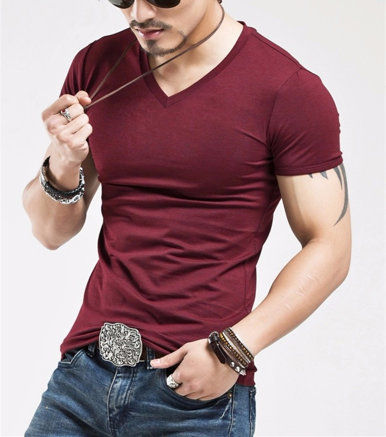 Fitness Casual Mens V neck Man T-shirt For Male T Shirts 27