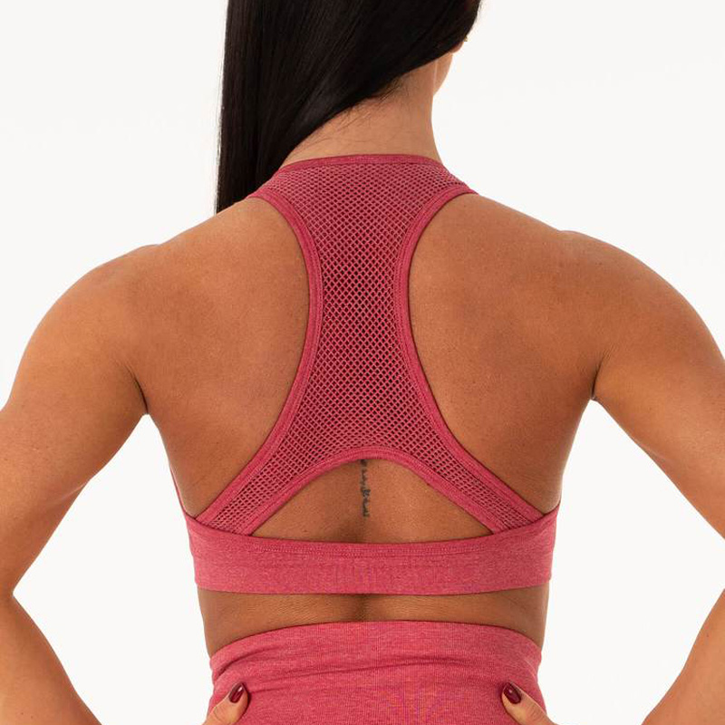 High impact seamless sports bra racer back gym bra padded workout pink yoga bras fitness gym crop top push up bras 1