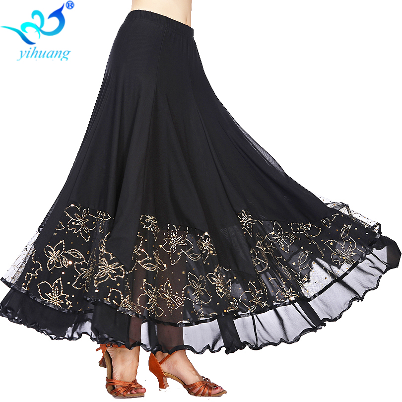 Ballroom Dancing Costume Long Skirts Competition Ladies Waltz Dance Skirt Modern Standard Tango Dancewear Performance Mesh