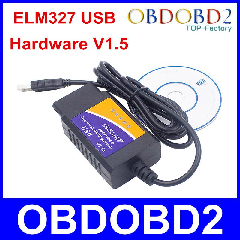 Real 25K80 ELM327 USB Plastic OBD2 Auto Diagnostic Tool Version V1.5 ELM 327 USB Interface OBDII CAN-BUS Scanner Free Shipping