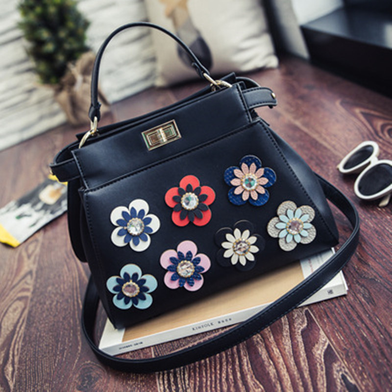 ФОТО 2017 Fashion Women Leather Handbags Cat Ladies Messenger Bag Floral Design Crossbody Bag Brand Designer Tote Bag Bolsos Mujer De