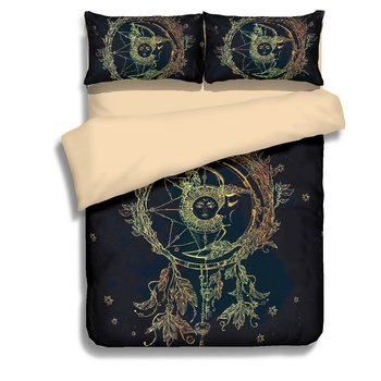 3D Digital Printing Hand Drawn Dream Catcher Sun Moon Feathers Leaves 3-Piece Bedding Sets