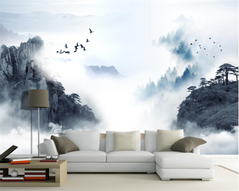 Beibehang moderno decoración del hogar 3D foto tinta china paisaje ...
