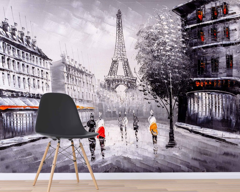 [Self-Adhesive] 3D Paris Tower Street View Hand Drawn 222 Wall Paper Mural Wall Print Decal Wall Murals