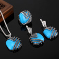 HENSEN Hight Quality Vintage Jewellery Set Antique Silver Plated Turkish Blue Resin Women Jewelry Sets