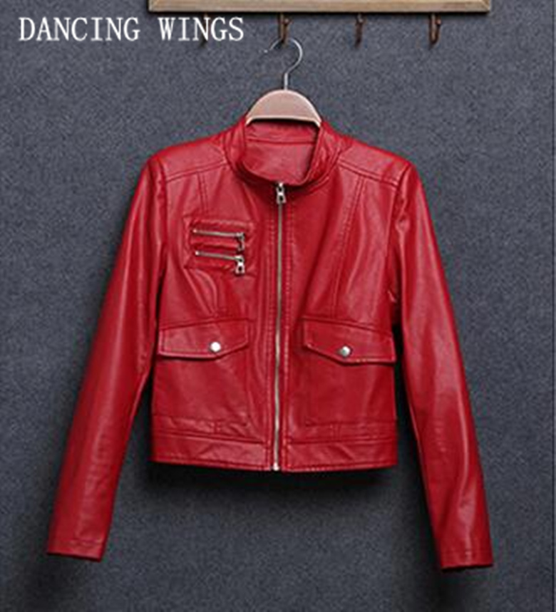 Spring stand collar PU leather motorcycle jacket women short slim black red basic jacket ...