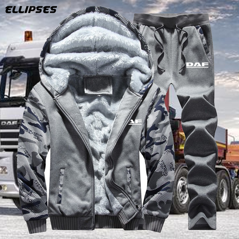 Autumn And Winter New DAF Trucks Logo Men's Camouflage Suit Leisure Sportswear Coat Male Thicken Tracksuit 2PC Jacket+Pant Men