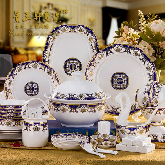 60 PIECES Guci Dishes in Jingdezhen set ceramic bowl creative household high -end European bone & 60 PIECES Guci Dishes in Jingdezhen set ceramic bowl creative ...