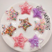 12pcs/lot 5*3cm sequin Star padded applique for clothes  and hair accessories