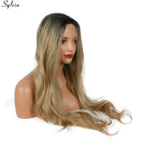 Sylvia 26 Ombre Long Blonde Wig Synthetic Lace Front Dark Roots Glueless Heat Resistant Fiber Natural Fully Hair Wigs For Women