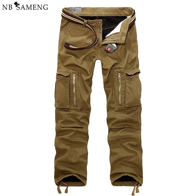 29-40 Más El Tamaño de Los Hombres de Carga Pantalones de Invierno Gruesa Caliente Pantalones Encuadre de cuerpo entero Multi Pocket Casual Holgados Militar Táctico pantalones