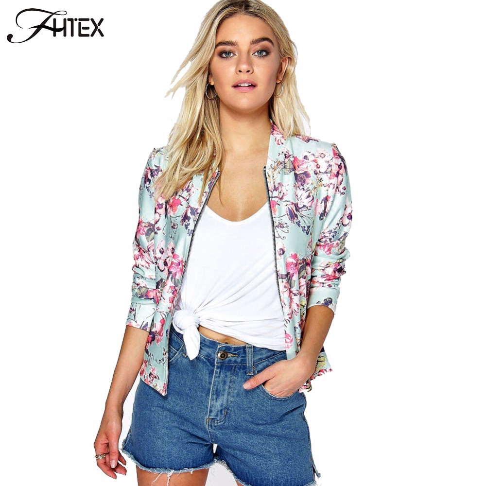 Fashion Floral  Print Women Basic Coats 2016 Autumn Winter Bomber Jacket Long Sleeve Casual Basic Jackets jaqueta feminina