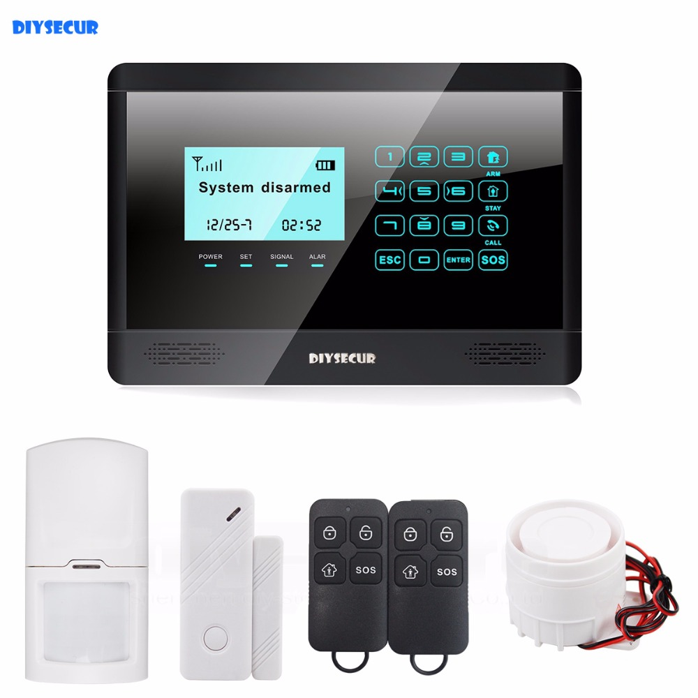 DIYSECUR 433MHz Wireless GSM SMS Touch Keyboard Home Alarm System Touch Screen M2BX diysecur wireless and wired gsm automatic dialing alarm system m2bx pet friendly home security