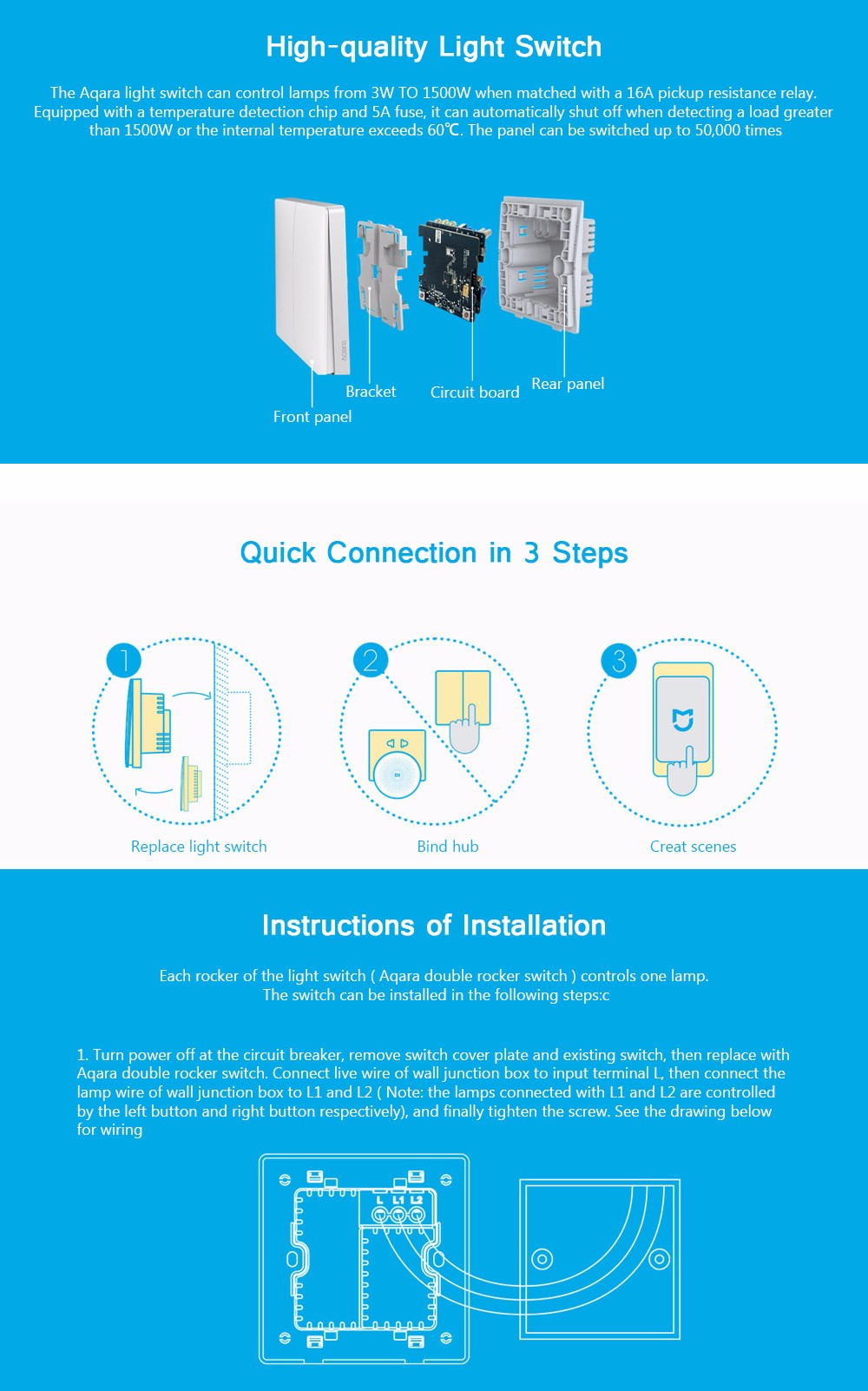 hight resolution of package size l x w x h 9 80 x 9 80 x 5 10 cm 3 86 x 3 86 x 2 01 inches package contents 1 x xiaomi aqara wall switch zigbee version