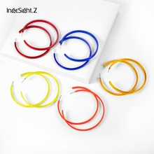 IngeSight.Z Exaggerated Geometric Big Round Circle Hoop Earrings Statement Transparent Acrylic Acetate Women Jewelry