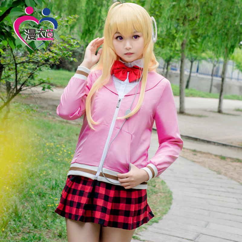 2017 New Anime Gabriel DropOut Cosplay Tenma Gabriel White Costumes Fancy Party Uniform Full set Women Clothing for Halloween