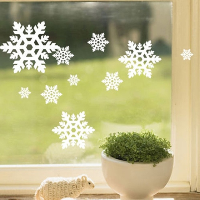 Christmas White Snowflake Sticker Window Glass Wall Hollow Sticker ...