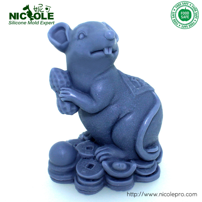 3D Silicone Handmade Soap Mold Lucky Mouse Resin Mould
