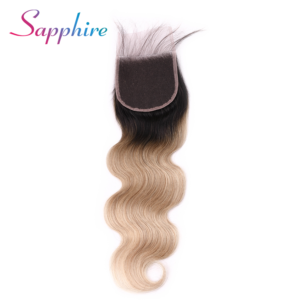 Sapphire TB/27 Brazilian Body Wave Closure Free Part 4x4 Ombre Human Hair Lace Closures Remy Hair 8-28 inch Free Shipping