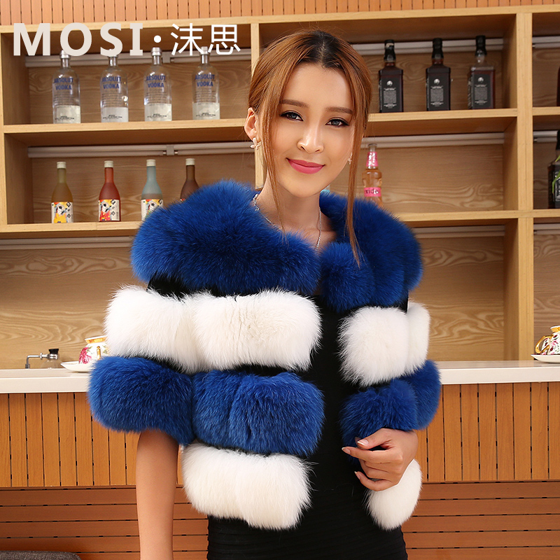 リアル ファー コート新しい 2015 フル レザー毛皮の コート短い デザイン女性の毛皮の コート カラー青と白キツネ の毛皮の コート