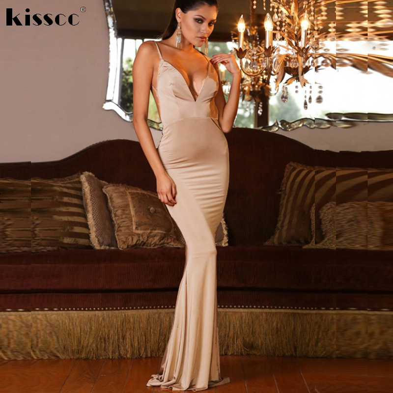 Sexy Deep V Neck Maxi Dress Bodycon Halter Backless Dress Night Club Dress  DIY Straps Stretchy Evening Party Dress
