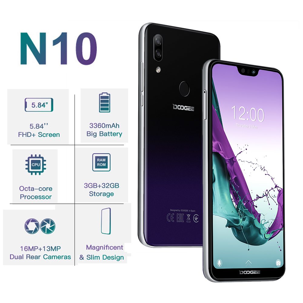 DOOGEE N10 Android 8.1 LTE 4G Mobile Phone 5.84 Inch Octa Core Smartphone 3GB RAM 32GB ROM Dual SIM Card 16 MP Cellphone 3360mAh