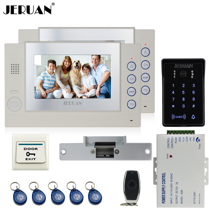 JERUAN 7 inch video door phone Record intercom system Kit 2 monitor New waterproof Touch Key password keypad Camera 8G SD Card jeruan 7 lcd video door phone record intercom system 3 monitor new rfid waterproof touch key password keypad camera 8g sd card