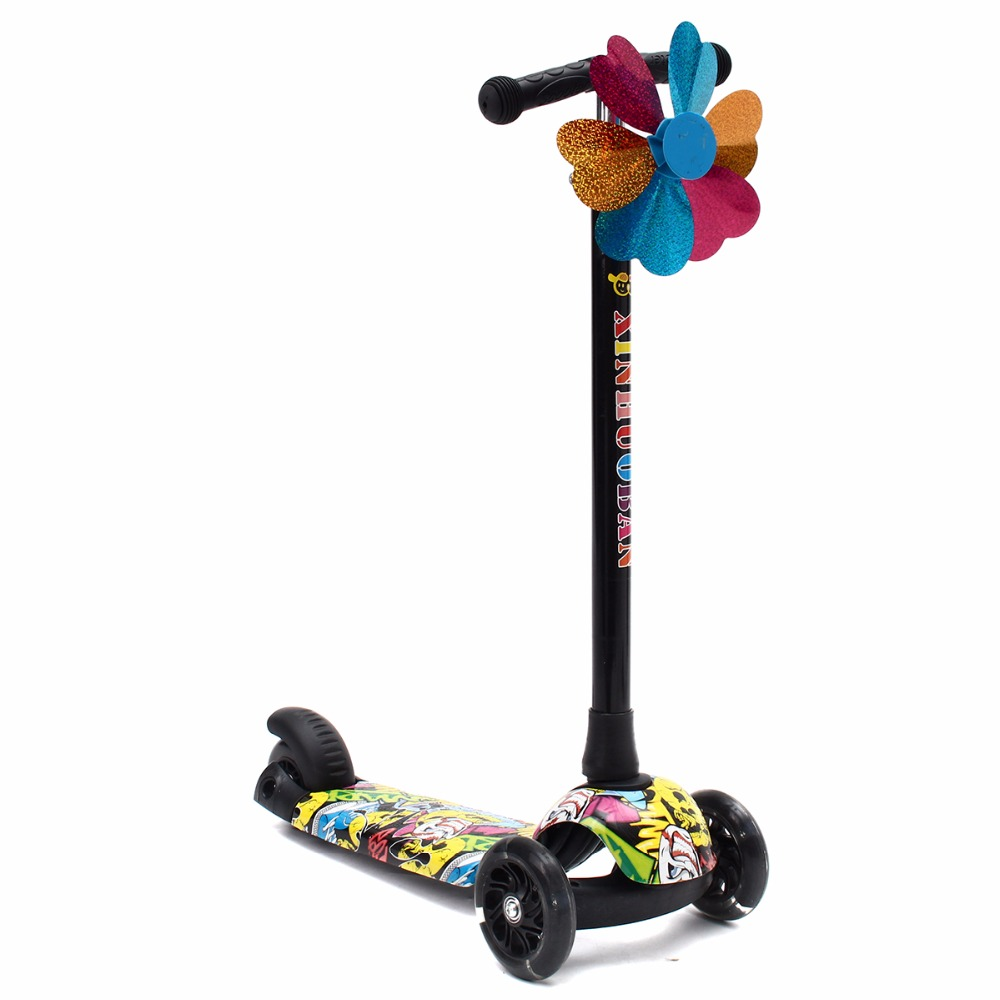 Kids Children Folding Flashing 3 Wheels Tricycle Kick Push Scooter Kickboard Adjustable Height Handle цена 2017