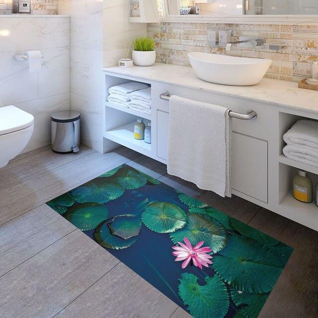 3d Wasser Lilien Tragen Beständig Anti Slip Diy Boden Matte Aufkleber Dekor Für Haus