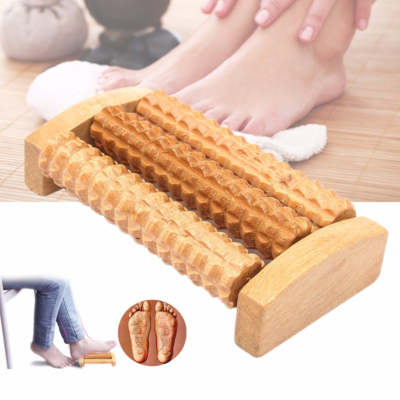 Us 239 14 Offhandheld Three Rows Of Foot Massager Wooden Bamboo Massage Wheel Foot Back Body Therapy Relax Stress Relief Foot Product V2994 In