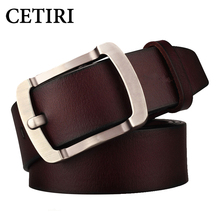 CETIRI High Quality Genuine Leather Belt For Men Full Grain Leather Belt Strap Black Brown Pin Buckle Belts For Jeans Cowboy