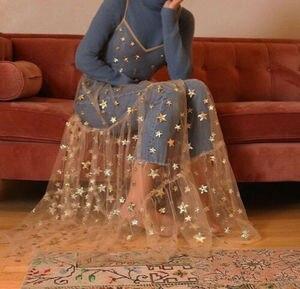 Summer Sweet Tulle Spaghetti Straps See Through Long Women Dresses Fashion Bling Bling Dress