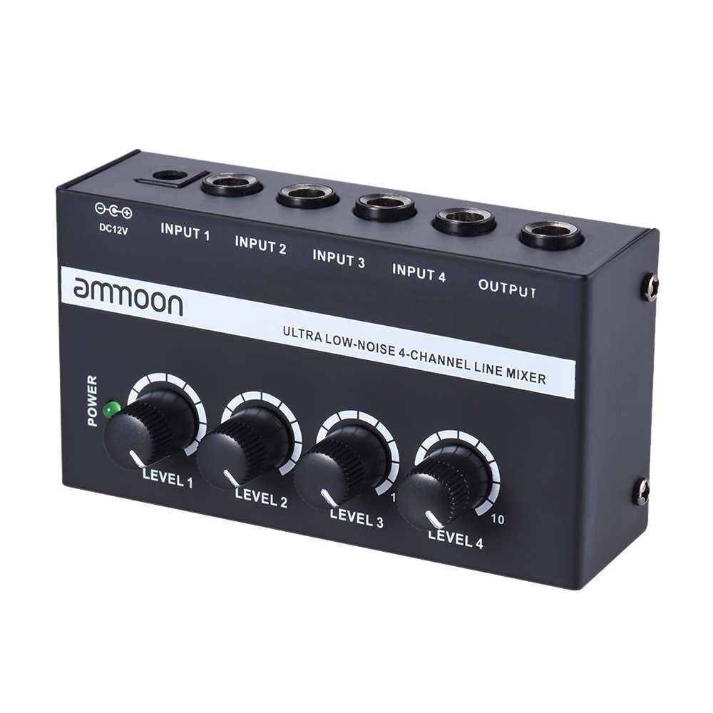Ammoon MX400 קומפקטי נמוך רעש 4 ערוצים קו מונו אודיו מיקסר עם כוח מתאם