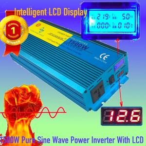 new 1500W Pure Sine Wave Car Inverter DC12V To AC220V Aluminum Alloy for Housing