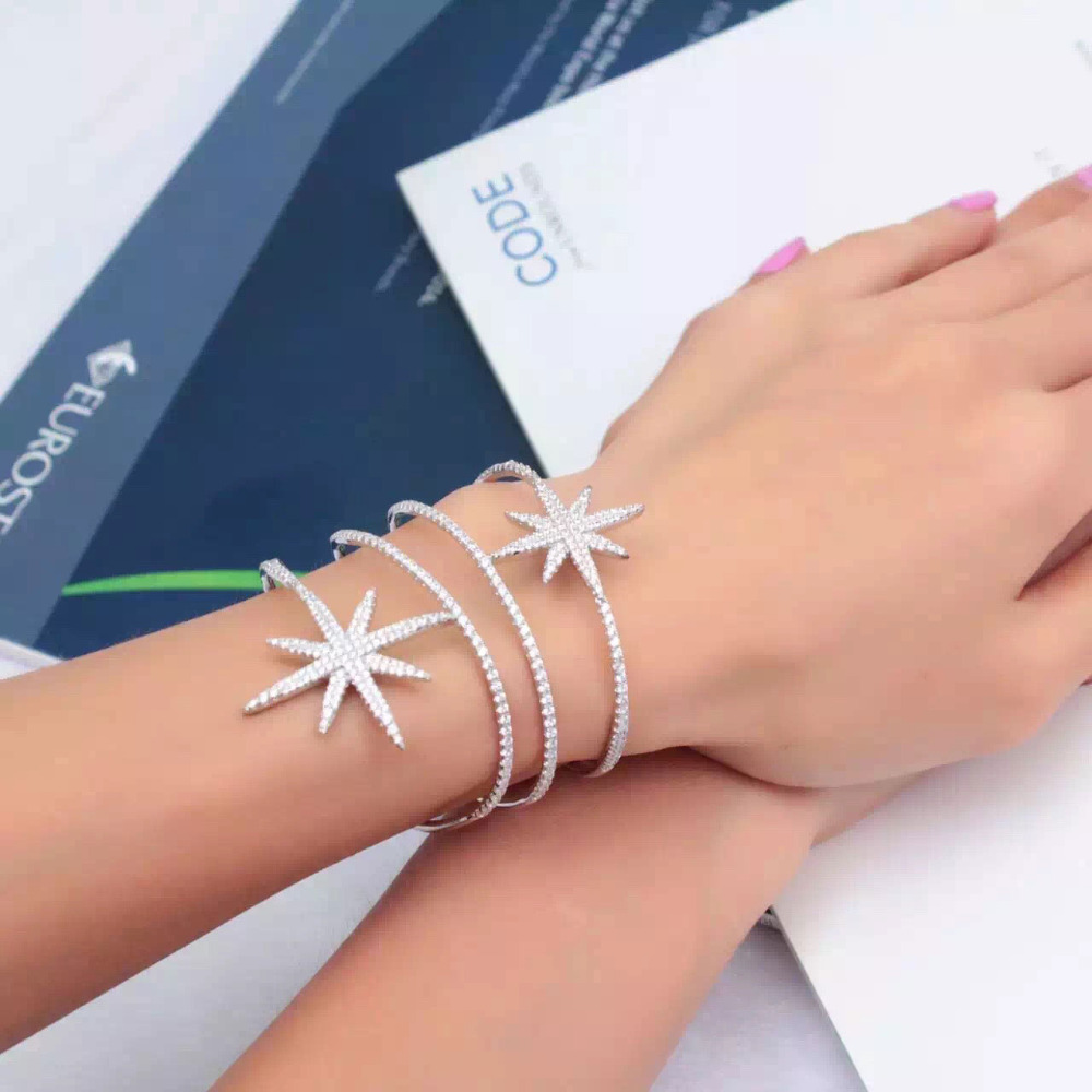 GODKI Fashion Luxury Super Shiny Star Color AAA Cubic Zirconia Women Width Baguette Bracelet Bangle